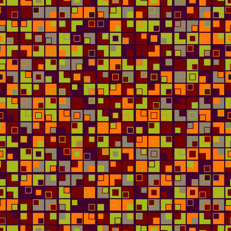 Geometric mosaic seamless pattern in color. The texture consists of squares. On a dark red background. Graphic design element.