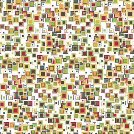 Patrón geométrico sin costuras Los cuadrados de diferentes tamaños y colores dispuestos sobre un fondo blanco.