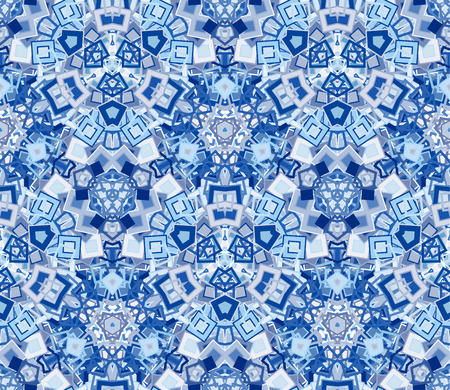 Kaleidoscope abstract seamless pattern, background. Composed of geometric shapes in blue. Compositions for texture and artistic compositions.