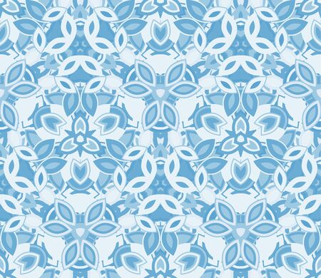 Blue kaleidoscope seamless pattern, background. Composed of abstract shapes.