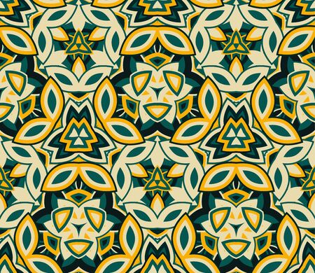 Kaleidoscope seamless pattern, background. Composed of colored abstract shapes.