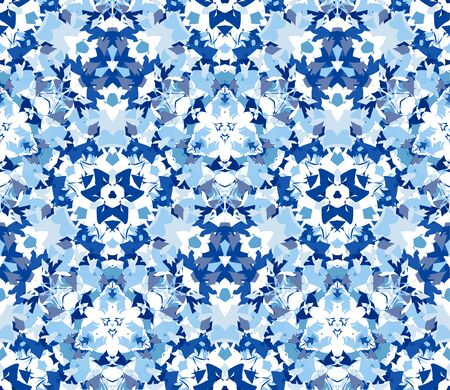 Blue seamless pattern. Seamless pattern composed of color abstract elements located on white background.