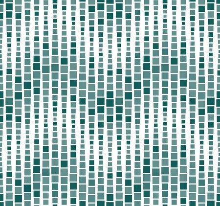 Seamless pattern, background, texture. Geometric elements, squares. Mosaic. Shades of green, teal on white. Graphic design element. Vector Illustration