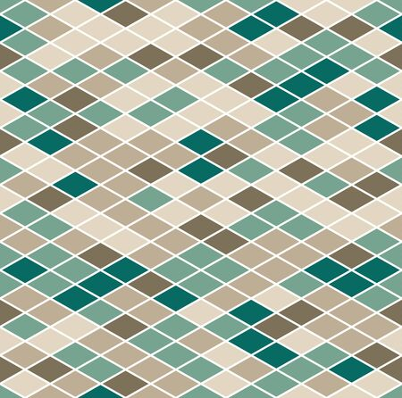 Vintage mosaic geometric seamless pattern, texture consisting of colored disjoint rhombuses located on a white background.