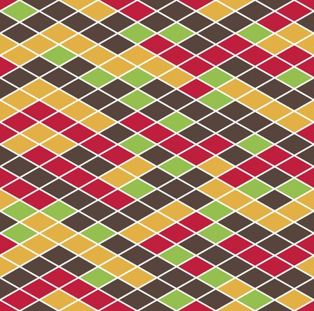 Colorful mosaic geometric seamless pattern, texture consisting of colored disjoint rhombuses located on a white background.