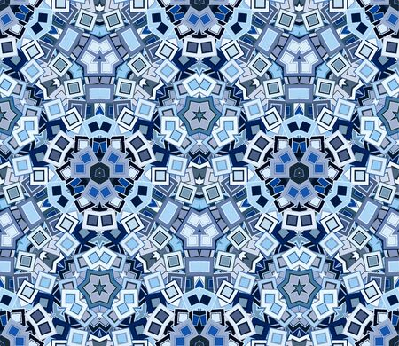 Blue kaleidoscopic seamless pattern, background. Abstract shapes making up a mosaic texture. Graphic design element. Ilustração