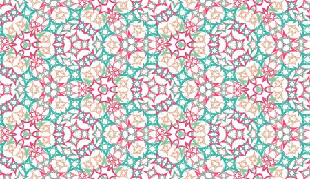 Colorful kaleidoscope seamless pattern. Colored abstraction on white background. Useful as design element for texture and artistic compositions.