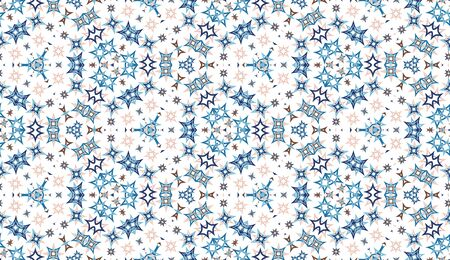 Kaleidoscope seamless pattern. Colored abstraction on white background. Useful as design element for texture and artistic compositions.