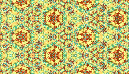 Abstract seamless pattern, background. Colorful kaleidoscope. Useful as design element for texture and artistic compositions.