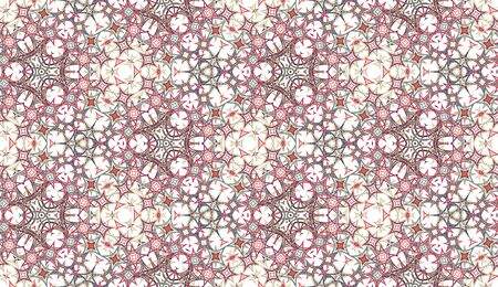 Abstract seamless pattern, background. Colored kaleidoscope on white. Useful as design element for texture and artistic compositions.