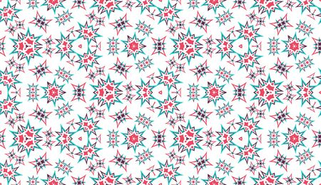 Abstract seamless pattern, background. Colorful kaleidoscope on white. Useful as design element for texture and artistic compositions.