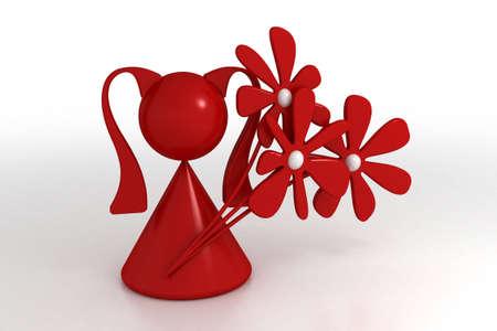 fascinação: 3d model girl and flower. made in 3ds max. Banco de Imagens