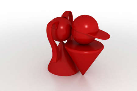 awfully: 3d model first kiss. Made in 3ds max Stock Photo