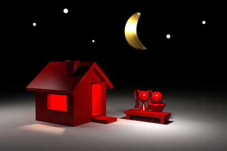 awfully: 3d model house. Boy and girl in night.