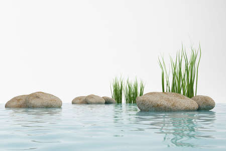 3ds: 3d model water, grass and stone. made in 3ds max Stock Photo