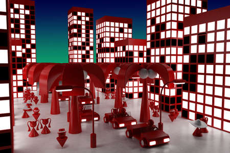 red light district: 3d model street in night. made in 3ds max Stock Photo