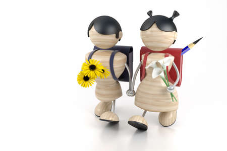 3d model boy and girl and yellow flowers. photo