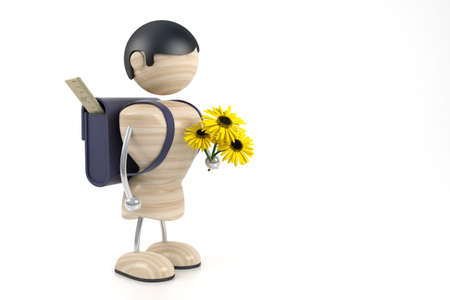 3d model boy and yellow flowers. shcoolboy photo