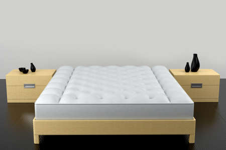 wooden bed: sleeping set. A front view is on a white background. 3d model Stock Photo