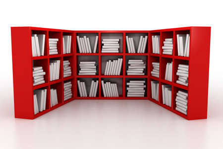 Shelvings in a library with books. 3d model Stock Photo - 1343523