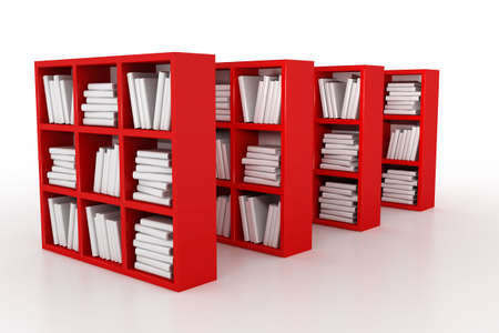 Shelvings in a library with books. 3d model photo