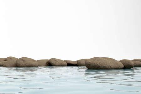 dark stone lie in water. 3d model