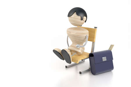 attainments: A little boy sits on a chair at school. 3d model
