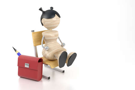 attainments: A little girl sits on a chair at school. 3d model