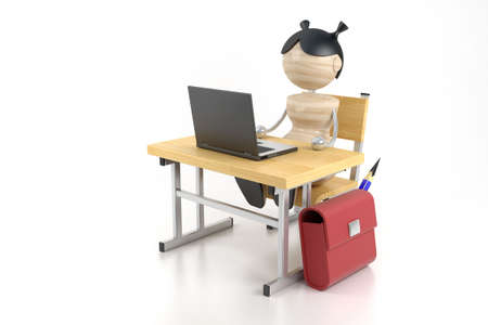 A girl sits at the computer. 3d model photo