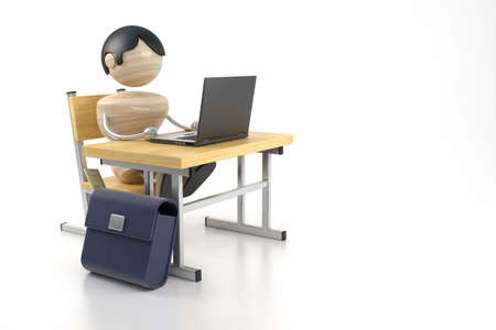 attainments: A boy sits at the computer. 3d model