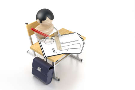 A boy draws after a school desk. 3d model photo