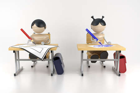 attainments: Schoolboys are in a class. Drawing lesson. 3d model