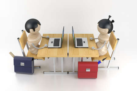 Schoolboys are in a class. Lesson of programming. 3d model photo