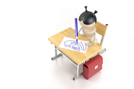 A girl draws after a school desk. 3d model photo
