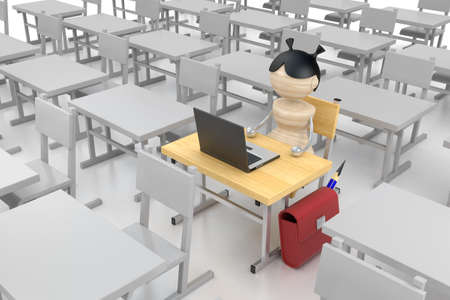 One girl sits in an empty class. photo