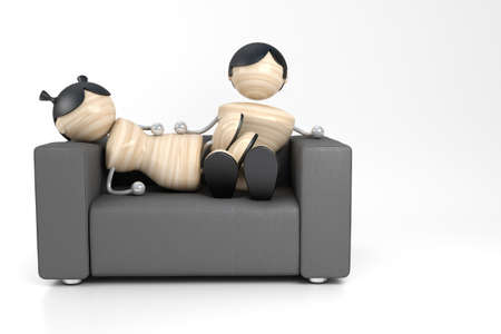 attainments: A young pair sits on a soft leather sofa. 3d model