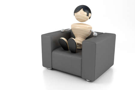 comfortableness: A boy sits in an easy leather chair Stock Photo