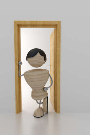 admittance: a man stands in doors. 3d model Stock Photo