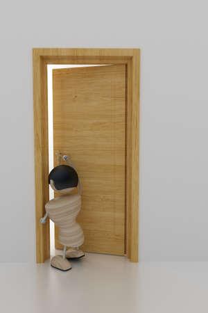come back: a boyl opens a door. 3d model