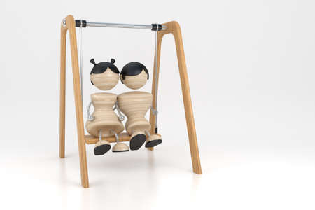 amorousness: Falling in love swing on swings. 3d model