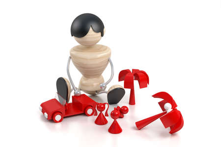 kid plays toys. 3d model boy and toys Stock Photo - 1414969