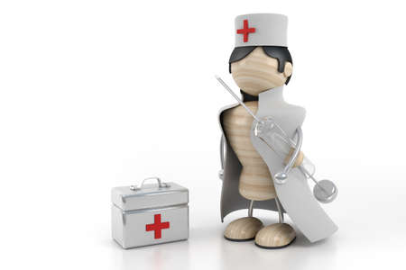 hospital gown: doctor and case Stock Photo