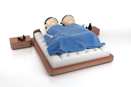 sleeping beauty: sleeping couple in bed Stock Photo