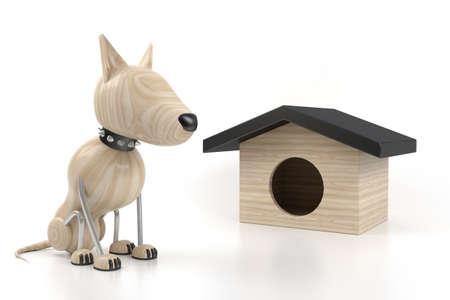 dog sits at the kennel. 3d model photo