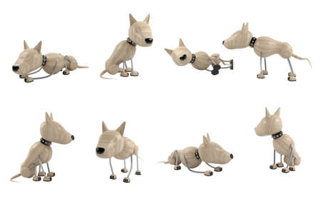 different poses of dogs. 3d model. isolated