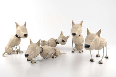 3d model. few dogs rest