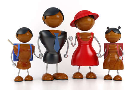 two generation family: african family 3d model
