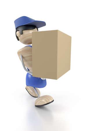 loader bear the cardboard box Stock Photo