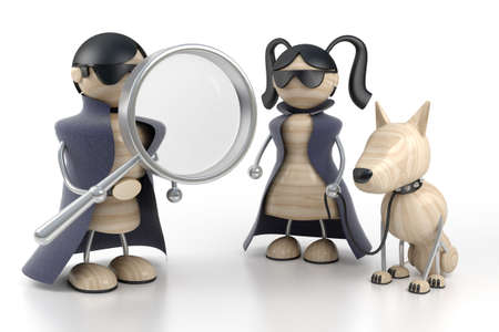 sleuth: two detectives are searched by evidences Stock Photo