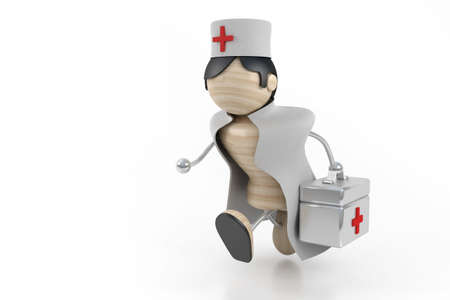 hospital gown: doctor hurry. 3d model